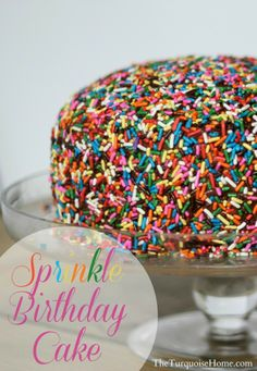 Sprinkle Birthday Cake and ideas for a whole party with a sprinkle theme - yum! Beautiful Cakes, Amazing Cakes, Cake Cookies, Cupcake Cakes, Mini Cakes, Just Desserts, Delicious Desserts, Sprinkles, Cake Recipes
