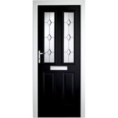 PVC Composite Door 2 Narrow Lite - 36.25in - Black - Right Hand from Homebase.co.uk