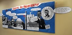 This teacher has used black and white images of Mt. Rushmore, the Jefferson, Washington, and Lincoln Memorials, and pictures of Kennedy and Obama to create a stunning Presidents' Day bulletin board display.  Visit this page to see close up images of this display:  http://ewehooo.blogspot.com/2012/02/school-bulletin-board-update-presidents.html