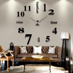 3d DIY Mirror, Wall Clock Decal