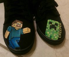 Hand painted shoes #minecraft