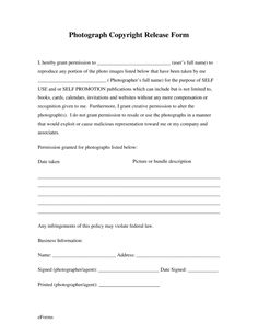 Photography contract template for weddings portraits for Copyright contract template free