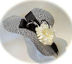 Black & White Chevron Derby Hat Women's Summer by Marcellefinery