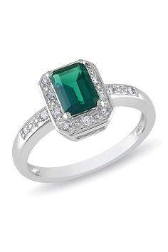Emerald Green & Diamond Silver Ring.