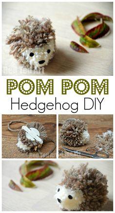 Adorable Hedgehog Pom Pom - we do love pom pom crafts - they are simply irrestible. And what cute than a Hedgehog Pom Pom?!