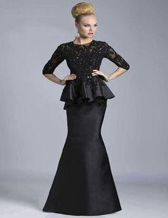 Custom Made Illusion Neckline Beaded Lace Half Sleeves Black Taffeta Mermaid Evening D saw one on Ali Express...and