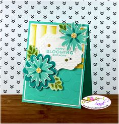 Sandi MacIver: Stamping with Sandy - Flower Patch for Happy Stampers Blog Hop - 7/22/14 (background: sponge daubers dragged - description included)