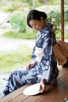 A woman in Yukata, Japanese Traditional Summer Dress for Casual Occasion