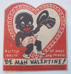 Rosen Black Americana Valentine, Sucker Holder Not Used Valentines Art, Vintage Valentine Cards, Valentines For Boys, Valentine Day Cards, Vintage Cards, Vintage Postcards, Happy Valentines Day, Vintage Black, Retro Vintage