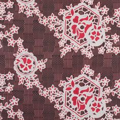 Famous NYC Designer Poppy/Oyster Floral Lace on Geometric Mesh Fabric by the Yard | Mood Fabrics