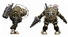 This large, and intimidating sprite for a Big Daddy in Bioshock shows the character in two angles, showing its equipment and scale. A rustic brown is used to simulate the effect of a rusty old diving suit and the drill creates genuine fear when the player goes against this enemy as that kind of weapon is much stronger than a simple type of gun.