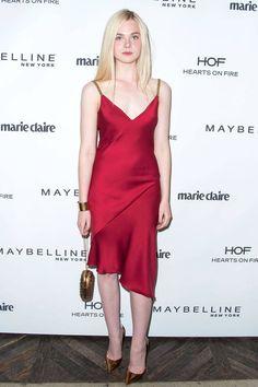 Elle Fanning in a Versace slip dress.