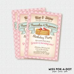 Pancakes and Pajamas Birthday party invitation - Rise and Shine pancake birthday