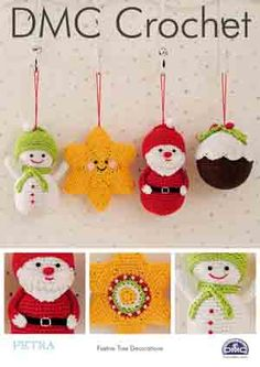 A crochet pattern to make these adorable Christmas tree decorations. Pattern contains instructions to crochet a snowman, a Christmas pudding, Santa and a star. Uses DMC Petra crochet yarn and a size hook. Measurements: Snowman: x x Christmas Pudding: Crochet Christmas Ornaments, Christmas Tree Decorations, Christmas Ideas, Holiday Crochet, Christmas Baubles, Christmas 2017, Christmas Stocking, Christmas Stuff, Merry Christmas