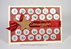Advengskalender Karte  Christmas Countdown card Silhouette Cameo Rubbelfolie Scratch-off Sticker Sheet