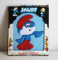 Vintage 80s SMURF plastic puzzle in package 1982 by 2artists216