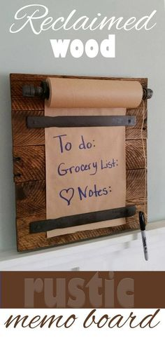 This is a fun way to leave notes for the family, and to write reminders. Great for the farmhouse style of home decor. #rustic #pallets #reclaimedwood #affiliatelink #homemaderusticfurniture