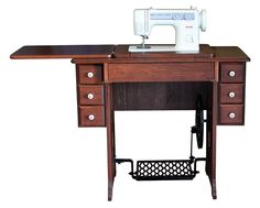 Amish Treadle Cherry Cabinet   Janome 712T, off grid, non-electric appliances. Love this sewing table.