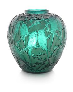 A René Lalique Frosted and Polished Green Glass 'Perruches' Vase  ENGRAVED SIGNATURE 'R.LALIQUE'; PRE 1945