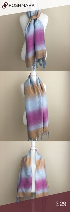 "Fringe Pashmina Scarf Fringe pashmina scarf. Blue, tan and pink. Length 65"" x Width 24"". In excellent condition. Can be worn as a scarf or a shawl. Accessories Scarves & Wraps"