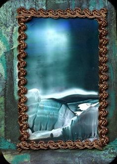 My ATC/Ikkuna/  Encaustic art , mixed media/ Marjatta Piironen