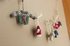 Hand Knit Mini Sweater Christmas Ornament by KnitWithAloha on Etsy