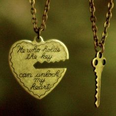 """""""He who holds the key can unlock my heart."""" I am in love with this necklace!(: they have one like it at things remembered too!(:    I WANT THIS"""