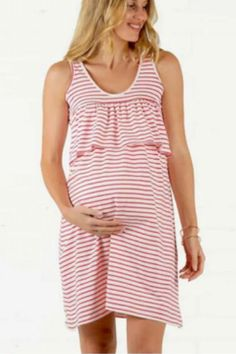 Maternity Dress Round Neck Short Sleeve Colorful Striped Stitching Ruffled Breastfeeding Dress