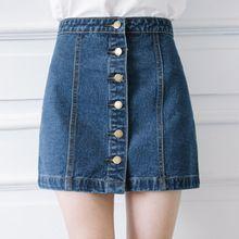 2016 D'été A-ligne Denim Jupes Nouvelles Femmes De Mode Vintage Bleu Denim Mini Jupes Occasionnel de Concepteur De Marque Plus La Taille Jupe(China (Mainland))