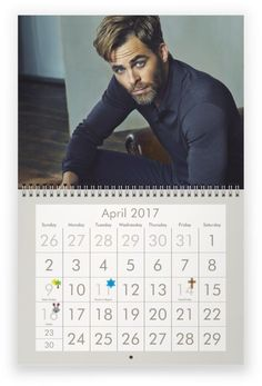 CHRIS PINE 2017 Wall Calendar - MISPRINT OF NAME ON COVER sale!