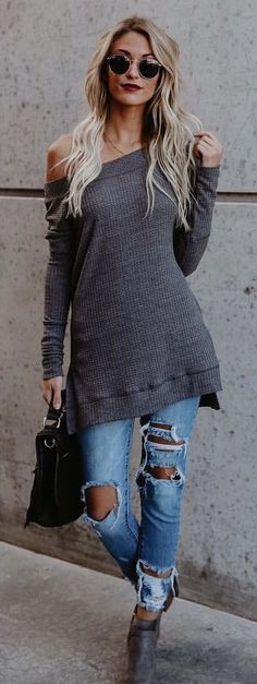 #fall #outfits women's gray off-shoulder long-sleeve top