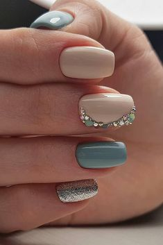 The Best Wedding Nails 2019 Trends wedding nails 2019 with nude and pastel blue rhinestones victoria_nails_samara Nagellack Design, Nagellack Trends, Pretty Nails, Fun Nails, Vintage Wedding Nails, Blue Wedding Nails, Ivory Wedding, Wedding Nails For Bride Natural, Wedding Nail Colors