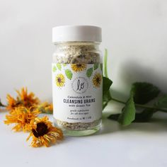 Lo & behold naturals calendula and mint face scrub with green tea, exfoliating, amazingly balanced, made in durham, nc!