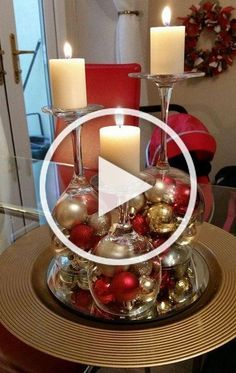 Learn how to create awesome DIY dollar store Christmas decorations you can make in no time. These are really fun and cheap holiday decor ideas that will make perfect Christmas table centerpieces - wine glass candle holders. Large Christmas Baubles, Diy Christmas Ornaments, Diy Christmas Gifts, Christmas Decorations, Holiday Decor, Christmas Tree, Christmas Desserts, Diy Crafts Videos, Diy Crafts To Sell