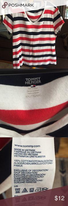 Tommy Hilfiger Womens tshirt short sleeve Tommy Hilfiger Womens tshirt short sleeve- cotton- XXL - red/white/blue Tommy Hilfiger Tops Tees - Short Sleeve