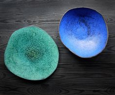 Set of  handmade ceramic tabledecoration: a plate and a bowl in green and blue colours. Perfectly imperfect and simple - unique gift idea.