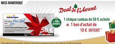 10€ offerts pour l'achat d'un chèque cadeau de 50€ sur Miss Numérique