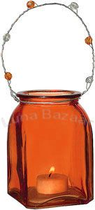 Orange SQUARE Vintage Glass Votive / Tealight Holder & Vase.  Glass dimensions: 3 x 3 inches x 4.5 inches high. Playfully painted vessels. Glass with beaded handles. Can be hung or placed on flat surface. Perfect for weddings! For use with flowers, votives, or tealight candles.