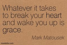 Whatever it takes to break your heart and wake you up is grace. Mark Matousek