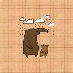 Bears in Rain by Frieda Bird