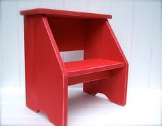 Vintage Style Two Step Stool in Red Handmade by by CircleCreekHome