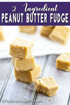 Creamy, smooth 2 Ingredient Peanut Butter Fudge that you can make in the microwave in about 5 minutes with just 2 ingredients! It seriously makes the best fudge. You wouldn't even believe it was so easy! So little work, so much delicious! 2 Ingredient Peanut Butter Fudge Recipe, Microwave Peanut Butter Fudge, 2 Ingredient Fudge, 2 Ingredient Desserts, Chocolate Peanut Butter Fudge, Peanut Butter Recipes, Fudge Recipes, Sweets Recipes, Candy Recipes