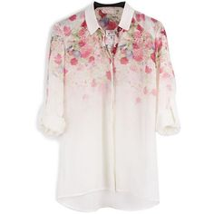 ... ❤ liked on Polyvore featuring tops, blouses, pink shirt, pink floral shirt, pink floral blouse, floral print blouse and pink top