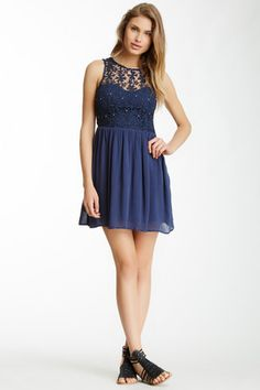 Very J Floral Crochet Dress