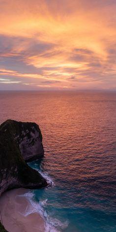 Nature, aerial view, beach, calm sea, sunset, 1080x2160 wallpaper