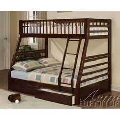 Jason Espresso Twin Over Full Bunk Bed with Drawers >>> Click image to review more details. (This is an affiliate link) #FutonBunkBedIdeas