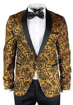 Mens Slim Fit Gold Black Paisley Suit Tuxedo Wedding Party Shiny