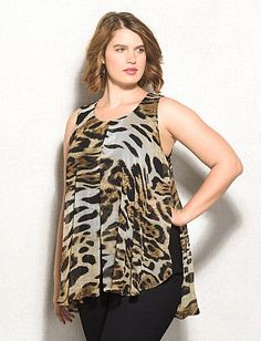 roz & ALI™ Plus Size Animal Print Flyaway Tank From the Plus Size Fashion Community at www.VintageandCurvy.com