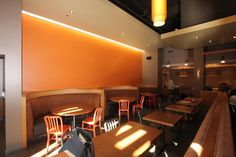 Restaurant Interior-lighting and sleek, cool look for fast-cas.