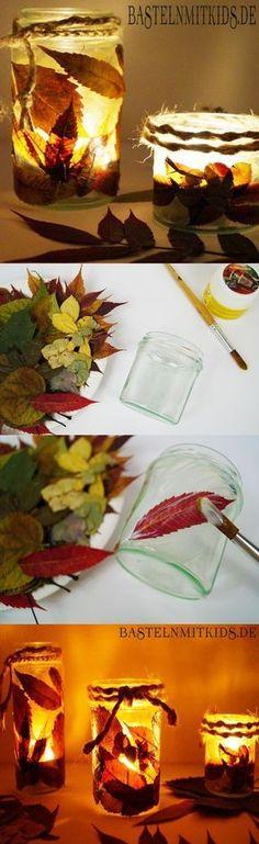 Making an autumnal lantern - crafts with children- Ein herbstliches Windlicht basteln – Basteln mit Kindern Super easy to tinker - Kids Crafts, Easy Fall Crafts, Fall Crafts For Kids, Fall Diy, Diy For Kids, Diy And Crafts, Craft Projects, Arts And Crafts, Simple Crafts